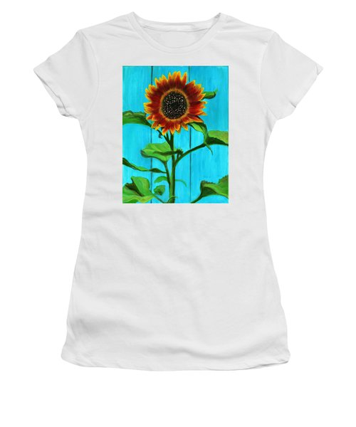 Sunflower On Blue Women's T-Shirt (Athletic Fit)