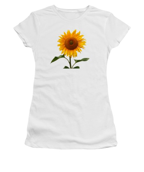 Sunflower On White Women's T-Shirt (Athletic Fit)