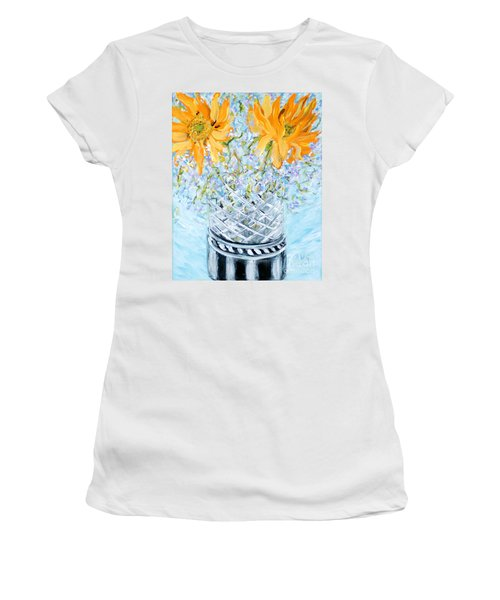 Sunflowers In A Vase. Painting Women's T-Shirt (Athletic Fit)