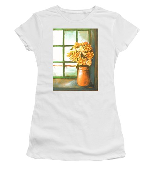 Women's T-Shirt (Junior Cut) featuring the painting Sunflowers In Window by Winsome Gunning