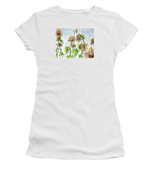Women's T-Shirt featuring the painting Sunflowers by Monique Faella