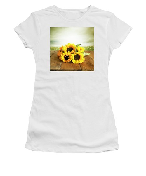 Sunflowers On A Table Women's T-Shirt (Athletic Fit)