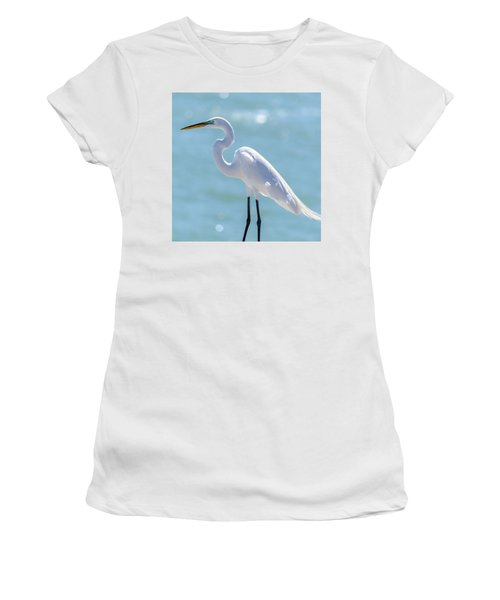 Women's T-Shirt (Athletic Fit) featuring the photograph Sunny Egret by Steven Sparks