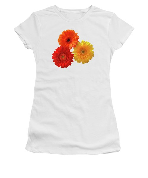 Sunny Gerbera On White Women's T-Shirt (Athletic Fit)