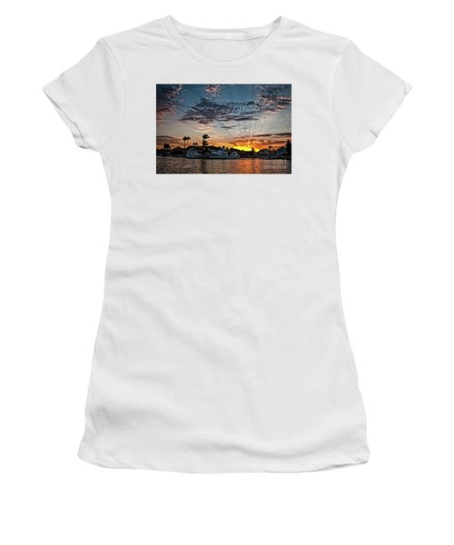 Sunrays Over Huntington Harbour Women's T-Shirt (Junior Cut) by Peter Dang