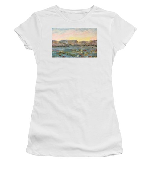 Women's T-Shirt featuring the painting Sunrise At The Pond by Norma Duch