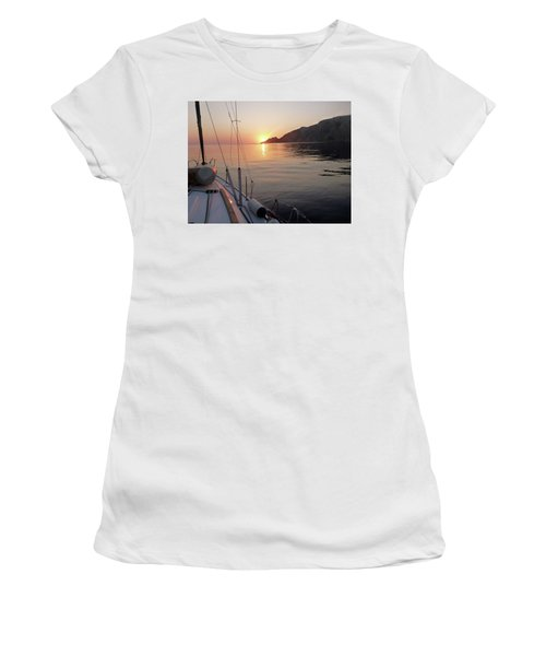 Women's T-Shirt (Junior Cut) featuring the photograph Sunrise On The Aegean by Christin Brodie