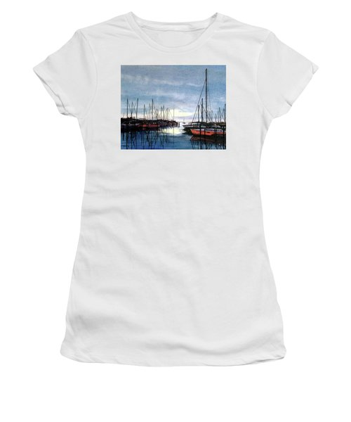 Women's T-Shirt (Junior Cut) featuring the painting Sunset At Apollo Beach by Janet King