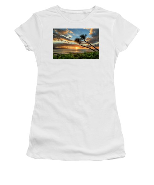 Women's T-Shirt (Junior Cut) featuring the photograph Sunset In Kaanapali by James Eddy