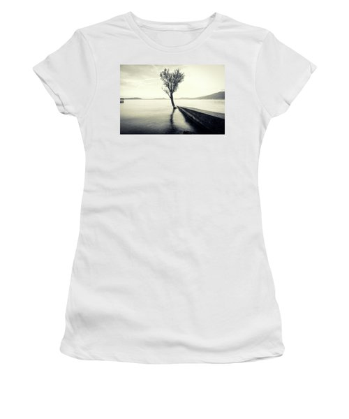 Sunset Landscape With A Tree In The Background Immersed In The L Women's T-Shirt (Athletic Fit)
