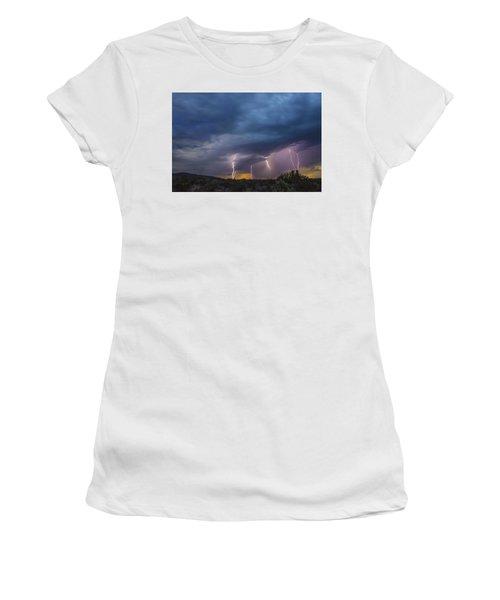 Sunset Lightning Women's T-Shirt (Junior Cut) by Kathy Adams Clark