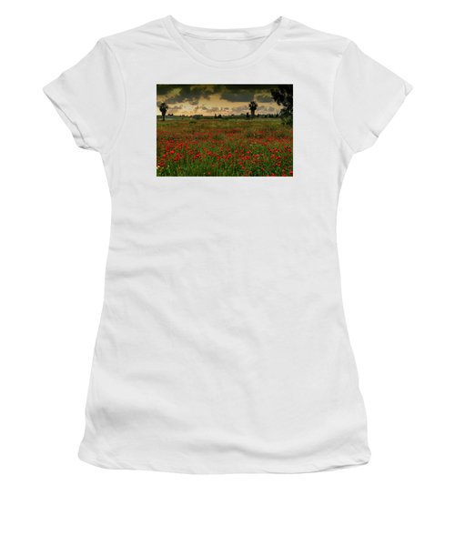 Sunset On A Poppies Field Women's T-Shirt