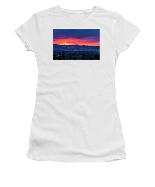 Sunset Over Marquam Hill Women's T-Shirt (Athletic Fit)