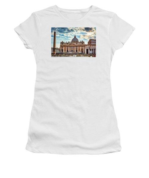 Sunset Over The Papal Basilica Of Saint Peter Women's T-Shirt