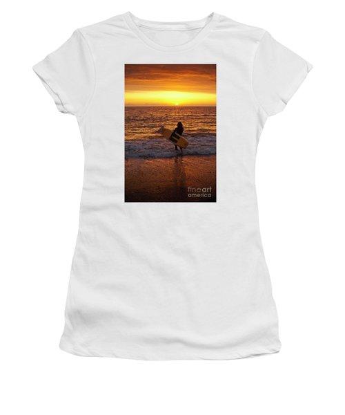Sunset Surfer On Aberystwyth Beach Wales Uk Women's T-Shirt