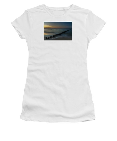 Women's T-Shirt (Junior Cut) featuring the photograph Sunset Zen Mood Seascape by Julis Simo