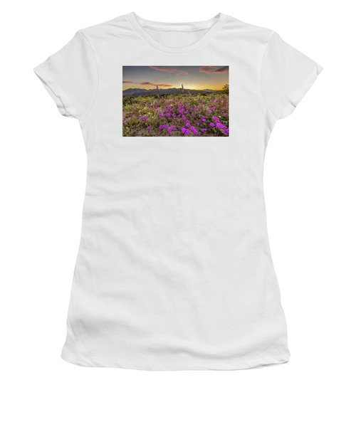 Women's T-Shirt (Junior Cut) featuring the photograph Super Bloom Sunset by Peter Tellone