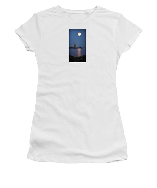 Super Moon Over Whaleback Lighthouse Women's T-Shirt (Junior Cut) by Betty Denise