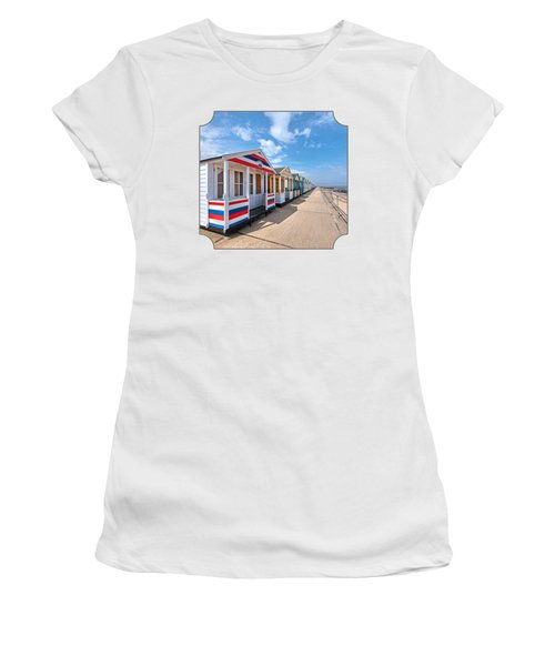 Surf's Up - Colorful Beach Huts Women's T-Shirt (Athletic Fit)