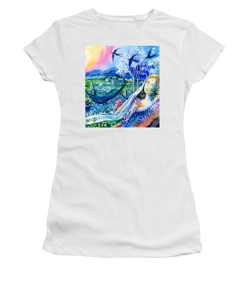Surprised By A Swallow  Women's T-Shirt (Junior Cut) by Trudi Doyle