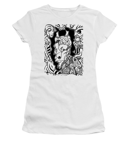 Surrealism Pagan Black And White Women's T-Shirt (Athletic Fit)