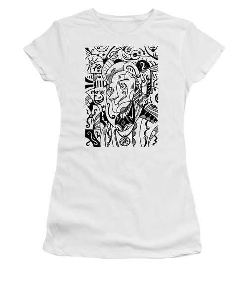 Surrealism Philosopher Black And White Women's T-Shirt (Athletic Fit)