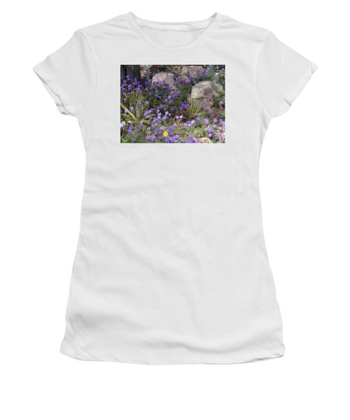 Surrounded By Purple Flowers Women's T-Shirt (Athletic Fit)