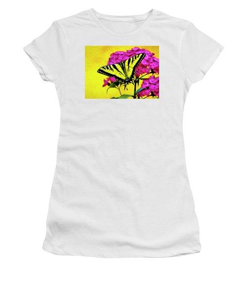 Women's T-Shirt (Junior Cut) featuring the digital art Swallow Tail Feeding by James Steele