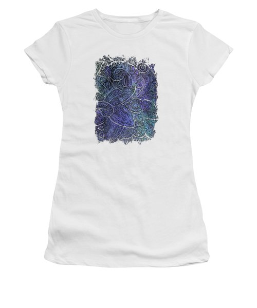 Swan Dance Berry Blues 3 Dimensional Women's T-Shirt (Junior Cut) by Di Designs