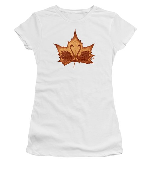 Swans Love On Maple Leaf Original Coffee Painting Women's T-Shirt (Junior Cut) by Georgeta Blanaru