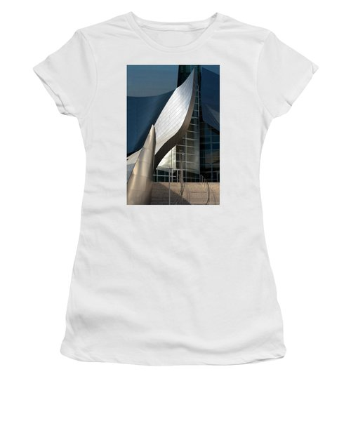 Women's T-Shirt featuring the photograph Swoops And Lines Of Disney Hall by Lorraine Devon Wilke