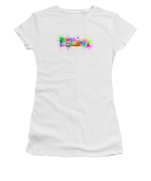 Sydney Harbor Skyline Paint Splatter Illustration Women's T-Shirt (Junior Cut) by Jit Lim