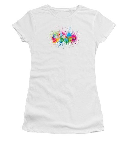 Sydney Harbor Skyline Paint Splatter Text Illustration Women's T-Shirt (Junior Cut) by Jit Lim