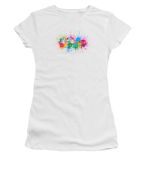 Sydney Harbor Skyline Paint Splatter Text Illustration Women's T-Shirt (Athletic Fit)