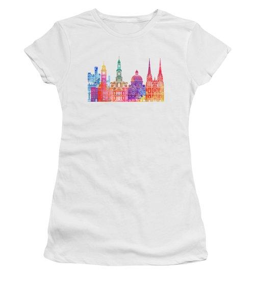 Sydney  Landmarks Watercolor Poster Women's T-Shirt (Athletic Fit)