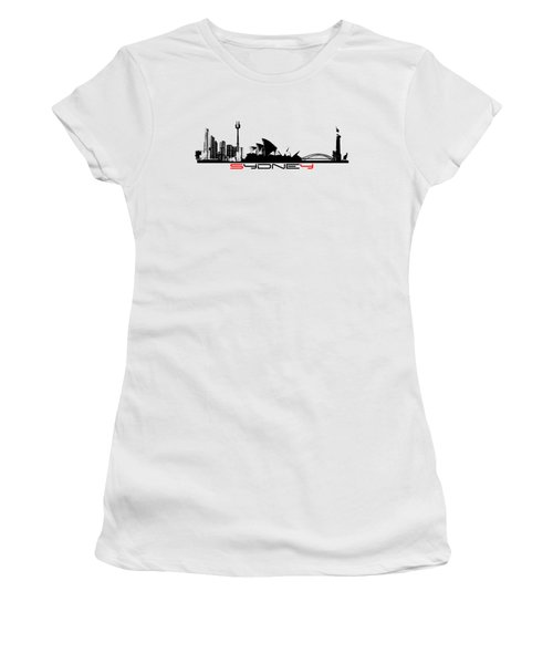 Sydney Skyline Black Women's T-Shirt (Athletic Fit)