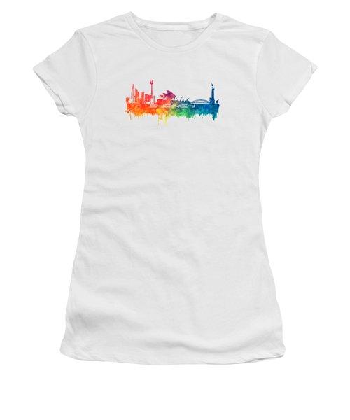 Sydney Skyline City Color Women's T-Shirt (Athletic Fit)