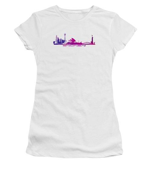 Sydney Skyline Purple Women's T-Shirt (Athletic Fit)