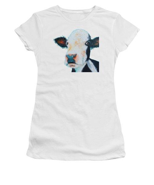 T-shirt With Cow Design Women's T-Shirt (Junior Cut) by Jan Matson