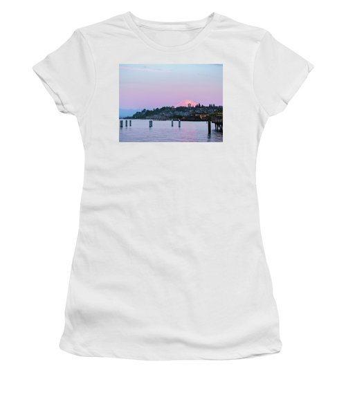 Women's T-Shirt (Junior Cut) featuring the photograph Tacoma Sunset by Ken Stanback
