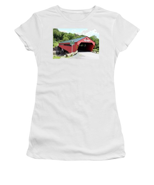 Taftsville Covered Bridge Women's T-Shirt (Athletic Fit)