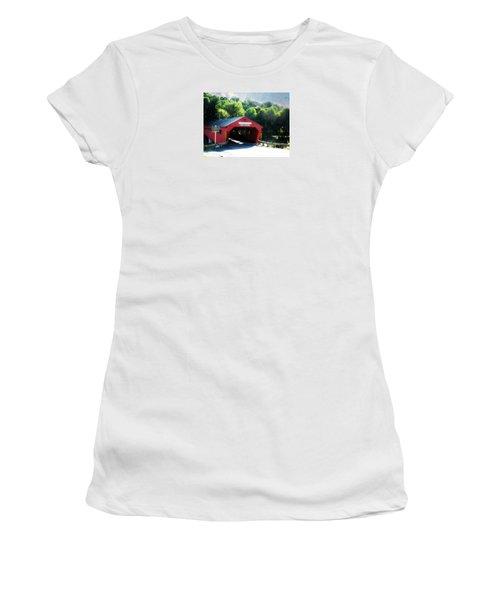 Women's T-Shirt (Junior Cut) featuring the photograph Taftsville Covered Bridge by Robin Regan