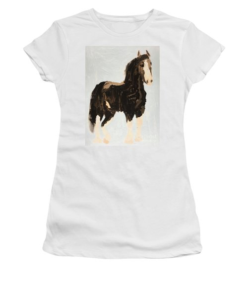 Women's T-Shirt (Athletic Fit) featuring the painting Tall Horse by Donald J Ryker III