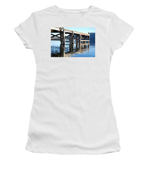 Women's T-Shirt (Junior Cut) featuring the photograph Te Anau Pier by Jocelyn Friis