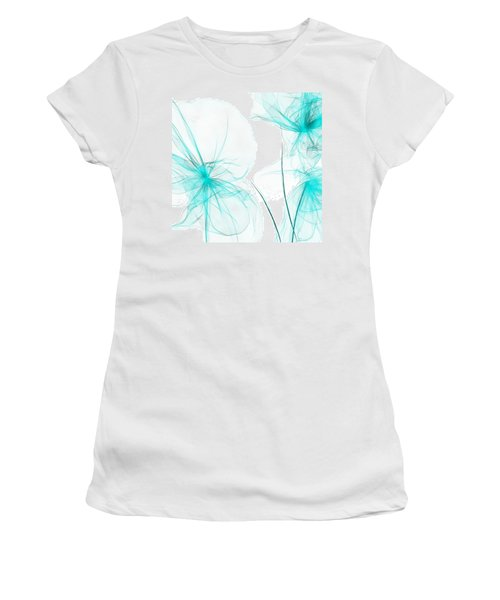 Teal Abstract Flowers Women's T-Shirt