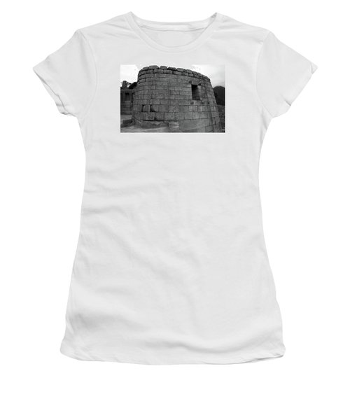 Women's T-Shirt (Junior Cut) featuring the photograph Temple Of The Sun, Machu Picchu, Peru by Aidan Moran