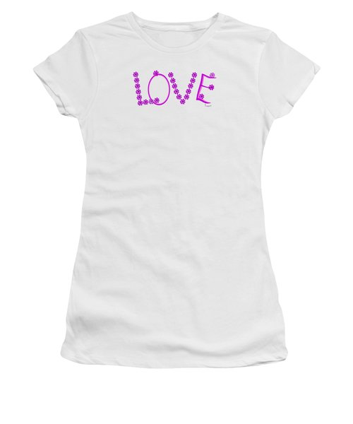1281 -  Love    Colour Violet Women's T-Shirt (Athletic Fit)
