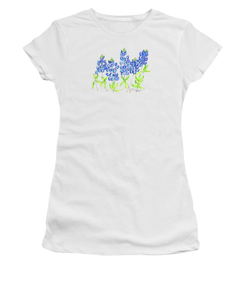 Texas Bluebonnets Watercolor Painting By Kmcelwaine Women's T-Shirt