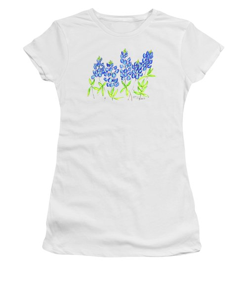 Texas Bluebonnets Watercolor Painting By Kmcelwaine Women's T-Shirt (Athletic Fit)