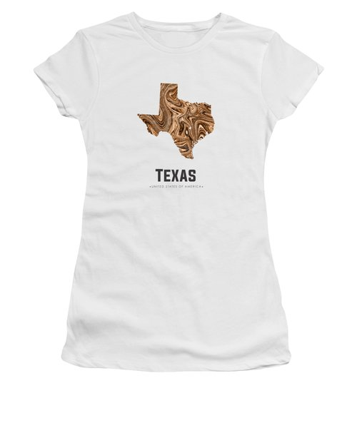 Texas Map Art Abstract In Brown Women's T-Shirt (Athletic Fit)